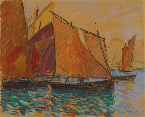 Artwork by Maxime Maufra, Voiliers, Made of watercolour and charcoal on paper