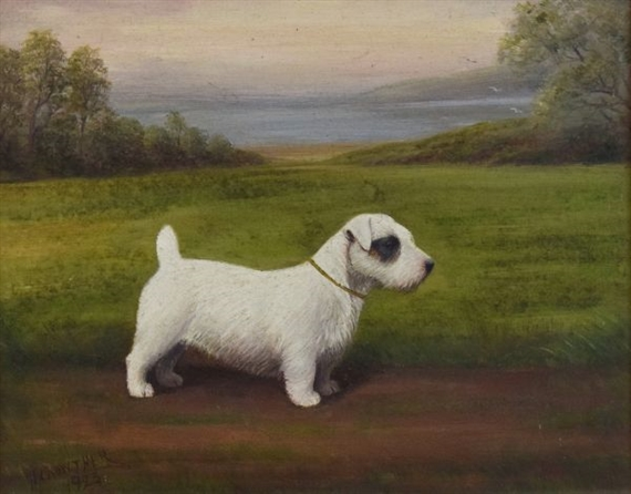Artwork By Henry Crowther Study Of A Sealyham Terrier Made Oil On Canvas