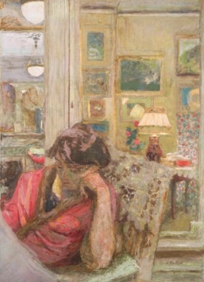 Artwork by Édouard Vuillard, Madame Hessel Lisant le Journal le Soir, Made of Gasoline paint on paper laid down on canvas