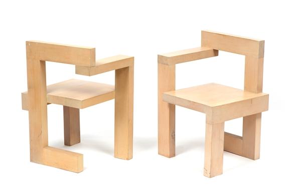 Gerrit Rietveld Kratstoel : Rietveld gerrit two so called steltman chairs mutualart