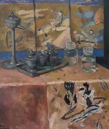 artwork by bart peizel interieur met japans kamerscherm en servies made of oil on