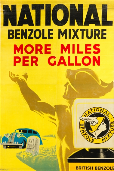 Artwork By Tom Purvis National Benzole Mixture More Miles Per Gallon Made Of Lithographic