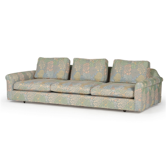Artwork By Edward Wormley, Three Seat Sofa On Casters, Made Of Upholstered,