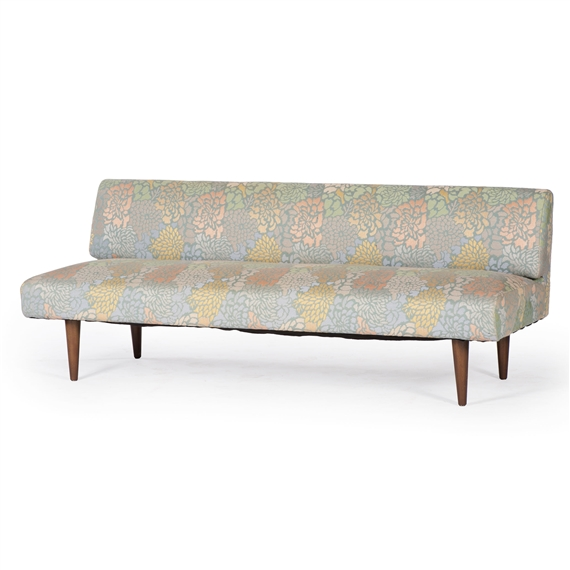 Artwork By Edward Wormley, Sofa, Made Of Upholstered, Wood, Cylindrical  Brass