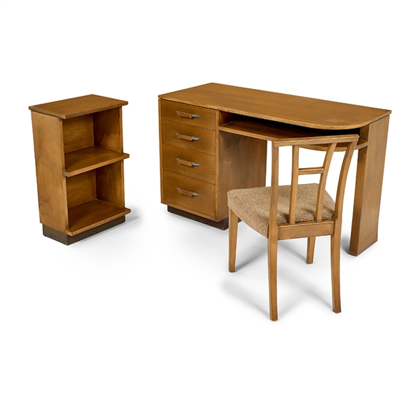 Artwork By Eliel Saarinen, Desk, Chair, And Cabinet, Made Of Birch,