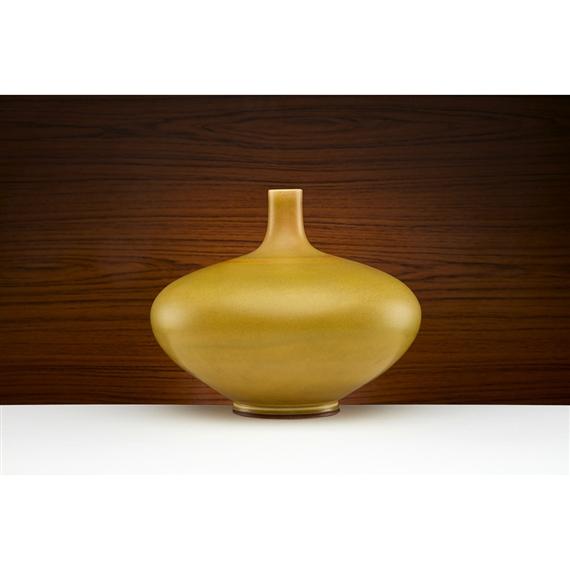 Friberg Berndt Large Yellow Glazed Stoneware Vase Mutualart