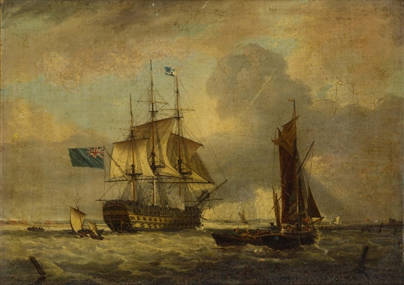 Artwork By Edward William Cooke Flagship Of A Vice Admiral The Blue With Fishing