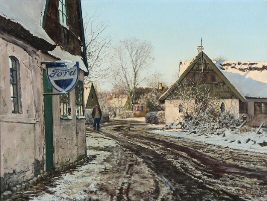Ring Ole | Winter Scene from the Village of Gundsølille | MutualArt