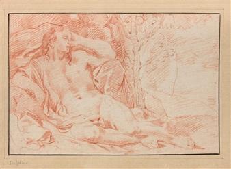 Charles Claude Dauphin | Homme allongé près d'un rocher