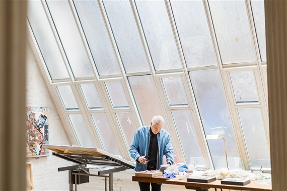 Peter Sacks at work in his studio.