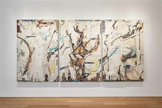Peter Sacks (b. 1950) Report From The Besieged City I, 2014-16, triptych, 196 x 394 cm (75 ¾ x 155 in), courtesy of Marlborough Fine Art.