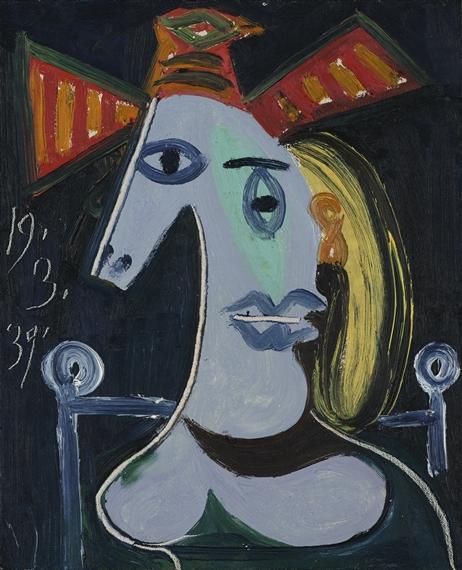 Picasso Pablo | TÊTE DE FEMME AU CHAPEAU ORANGE | MutualArt