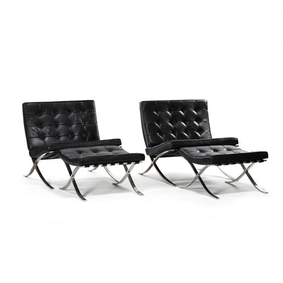 Ludwig Mies Van Der Rohe 4 Works Barcelona Chairs And Ottomans