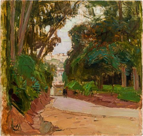 Artwork by Carl Moll, Bois de Boulogne in Algier, Made of oil on panel