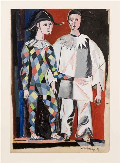 Alechinsky Pierre   Pierrot et Arlequin (1949)   MutualArt