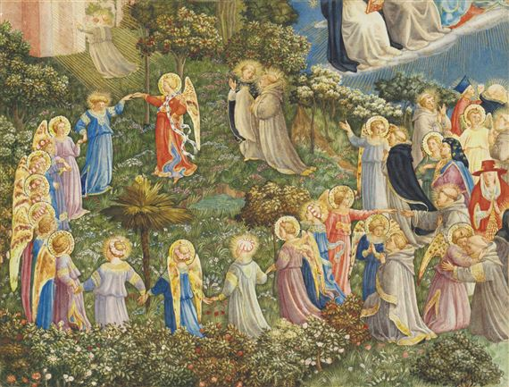 Artwork by Thomas Matthews Rooke, The Last Judgement, after Fra Angelico, Made of pencil and watercolour, heightened with bodycolour and touches of gold on paper