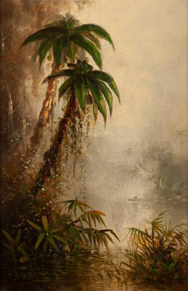 American School 19th Century Tropical Landscape Possibly Lake Nicaragua 1881 Mutualart