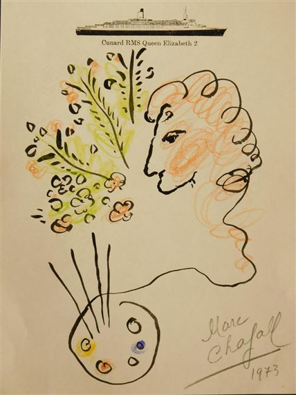 artwork by marc chagall drawing on a sheet of stationary from the cunard rms queen