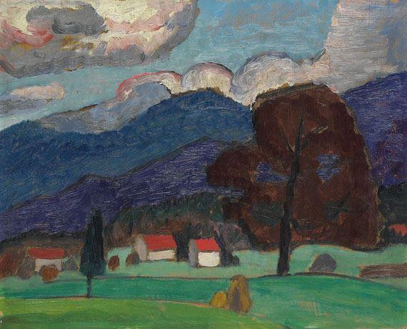 Artwork by Gabriele Münter, Herbstlandschaft mit braunem Baum, Made of Oil