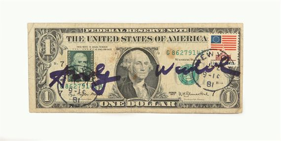 Artwork By Andy Warhol One Dollar Bill With Postage Stamps