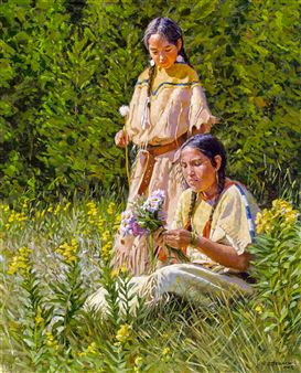 Two young Native American women gathering flowers in a field