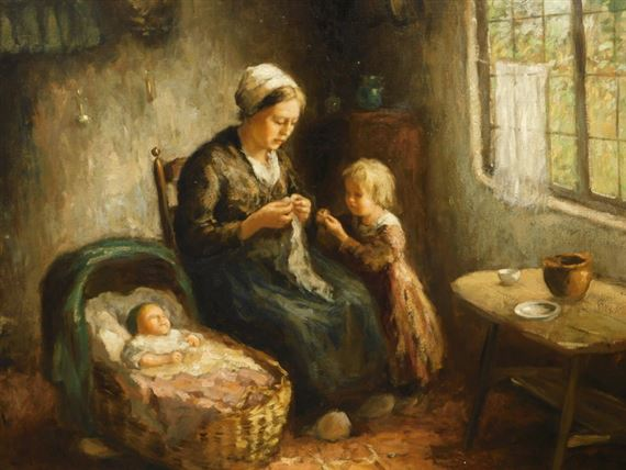 Andries van den Berg | Mother and children - interior scene | MutualArt
