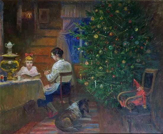 The Christmas Tree 1991.Russian School 20thcentury The Christmas Tree 1991