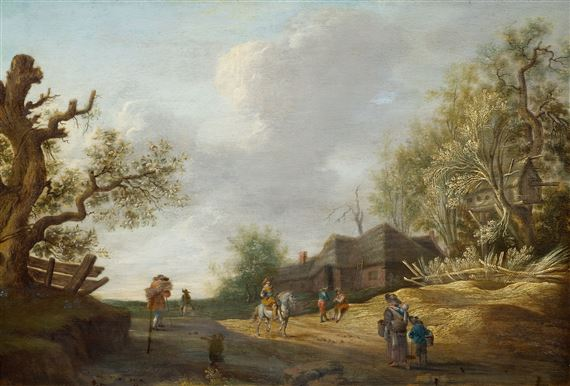 Dutch School, 18thCentury | Landscape with peasants and travellers