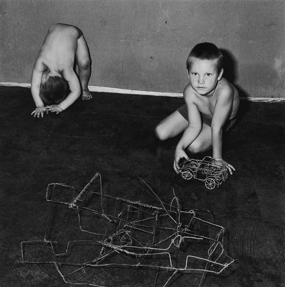 ballen roger \u0027untitled\u0027 (children with wire car) mutualartartwork by roger ballen, \u0027untitled\u0027 (children with wire car), made