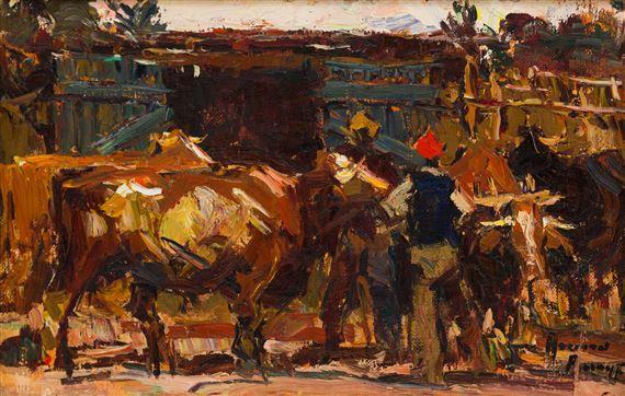 Adriaan HendrikBoshoff | Herding Cattle | MutualArt