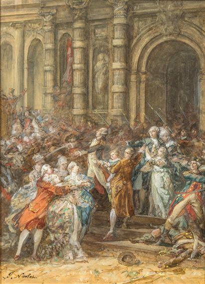 Navlet Joseph   Le Peuple parisien empêche Louis XVI de se rendre à  Saint-Cloud   MutualArt