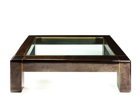 Artwork By Karl Springer, Cocktail Table, Made Of Polished Gunmetal Finish  With Brass Trim