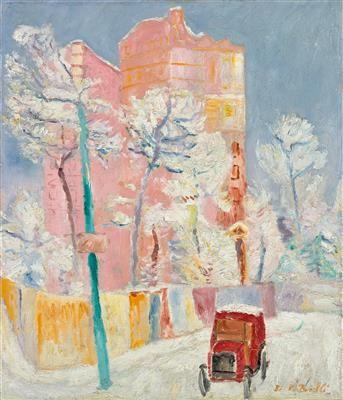 Birolli Renato | Taxi rosso nella neve (Red taxi in the snow