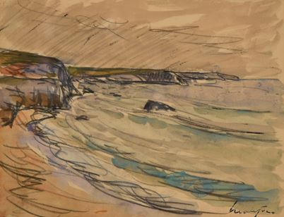Artwork by Maxime Maufra, Côte rocheuse Port Blanc, Made of Charcoal and watercolors