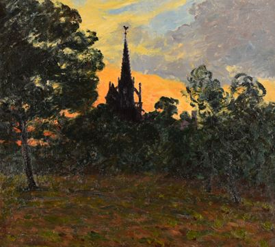 Artwork by Maxime Maufra, Eglise bretonne au soleil couchant, Made of Oil on canvas