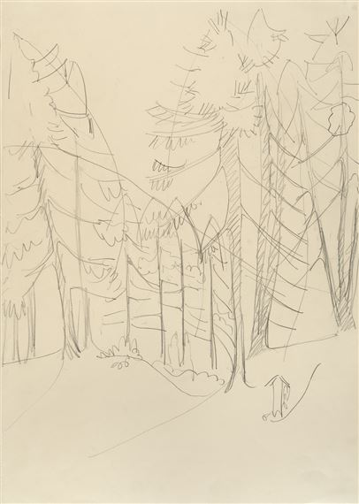 Ernst Ludwig Kirchner | Forest cemetery (study) (1933