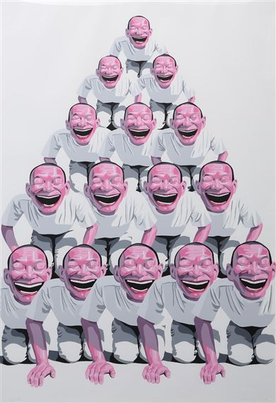 Artwork by Yue Minjun, Pyramid of smile, Made of Print-Multiple, Lithograph in colors