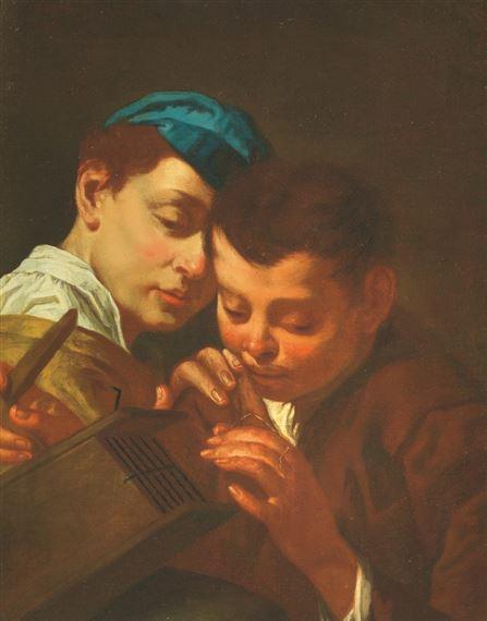 57c838695f Artwork by Domenico Maggiotto, COPPIA DI BAMBINI CHE ARMEGGIANO CON UNA  TRAPPOLA, Made of