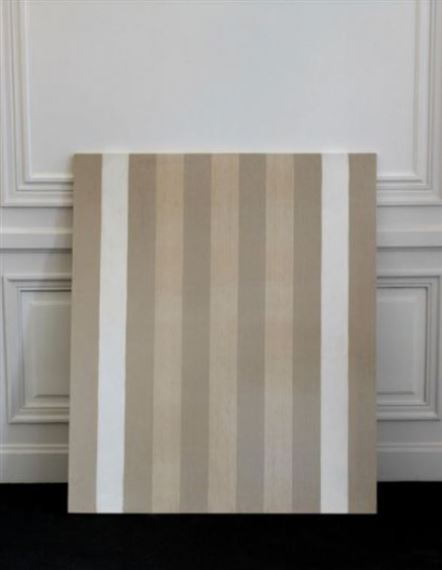 Buren Daniel Peinture Acrylique Blanche Sur Tissu Raye Blanc Et