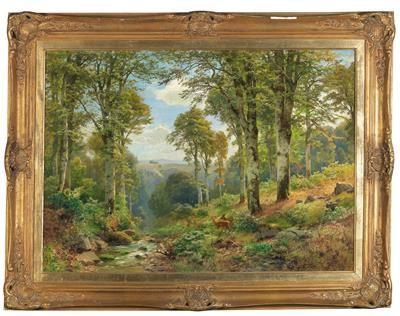 Stream by Heinrich Böhmer Deer in Forest