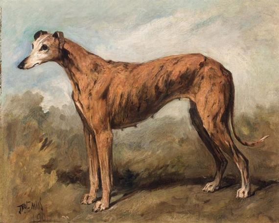 Emms John | A Brindle Greyhound in a Landscape (1890) | MutualArt