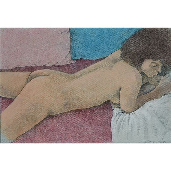 Artwork by Christopher Pratt, NUDE WITH COLOURED PILLOWS, Made of graphite & pastel