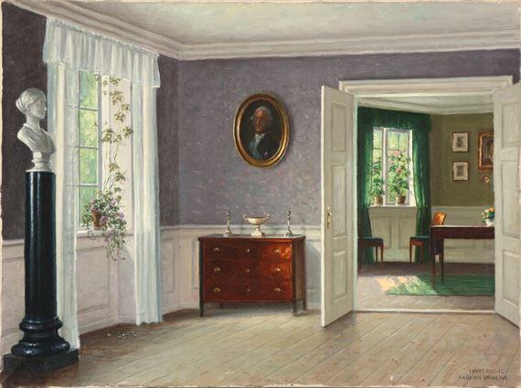 0150067d829 Artwork by Hans Hilsoe, Drawing room interior from Bakkehuset on  Frederiksberg, Made of Oil