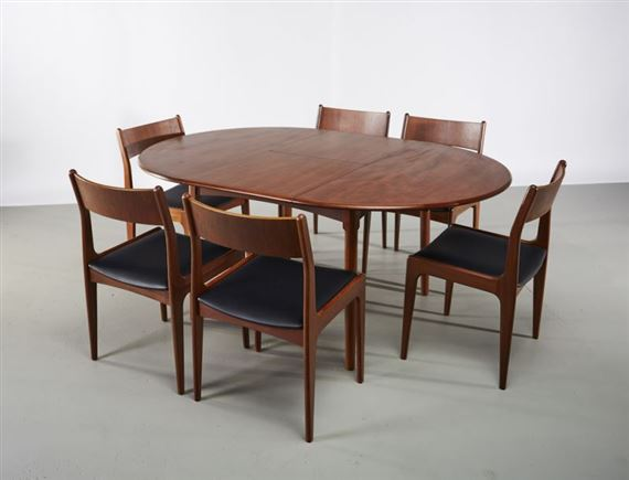 Helge Vestergaardjensen Erfly Dining Table And Six