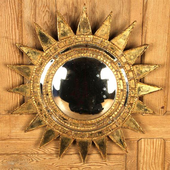 Artwork By Line Vautrin Mid Century Modern Starburst Mirror Made Of Gilt Wood And