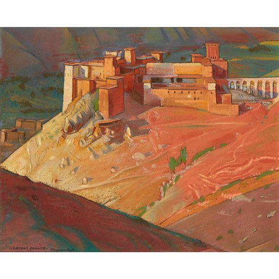 Artwork by Alexander Graham Munro, KASBAH TAGUENDAFT, HIGH ATLAS, MOROCCO, Made of pastel
