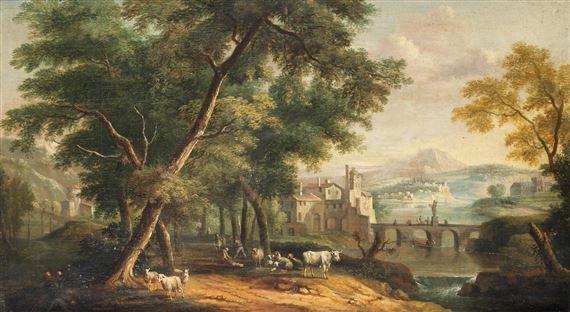 Dutch School, 18thCentury | An Italianate landscape with figures
