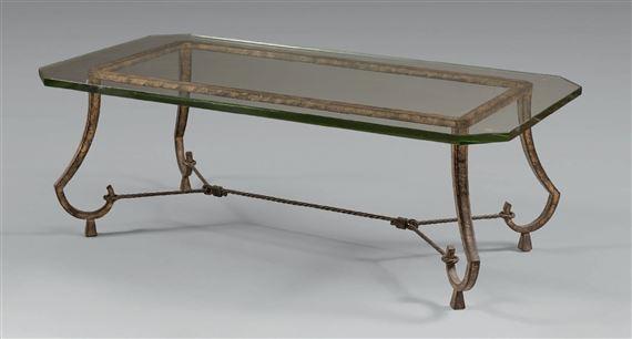 ramsay table basse en fer forg patine dor e plateau. Black Bedroom Furniture Sets. Home Design Ideas