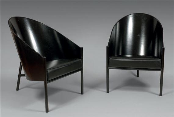 Artwork By Philippe Starck, Paire De Fauteuils Modèle «Costes», Made Of  Black