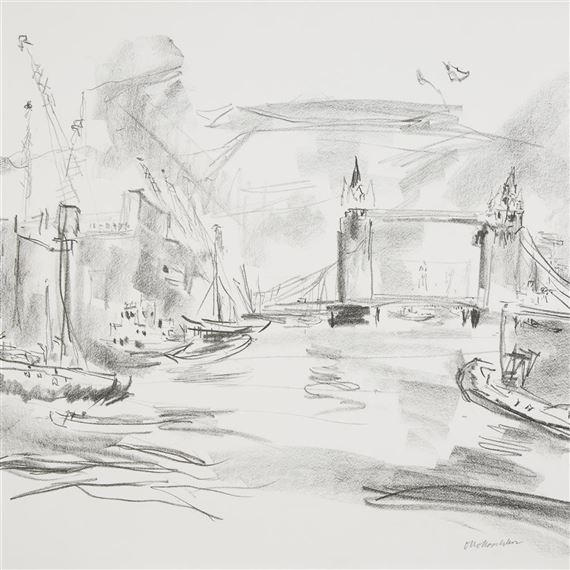 kokoschka oskar tower bridge ii from london from the river thames 1967 mutualart. Black Bedroom Furniture Sets. Home Design Ideas